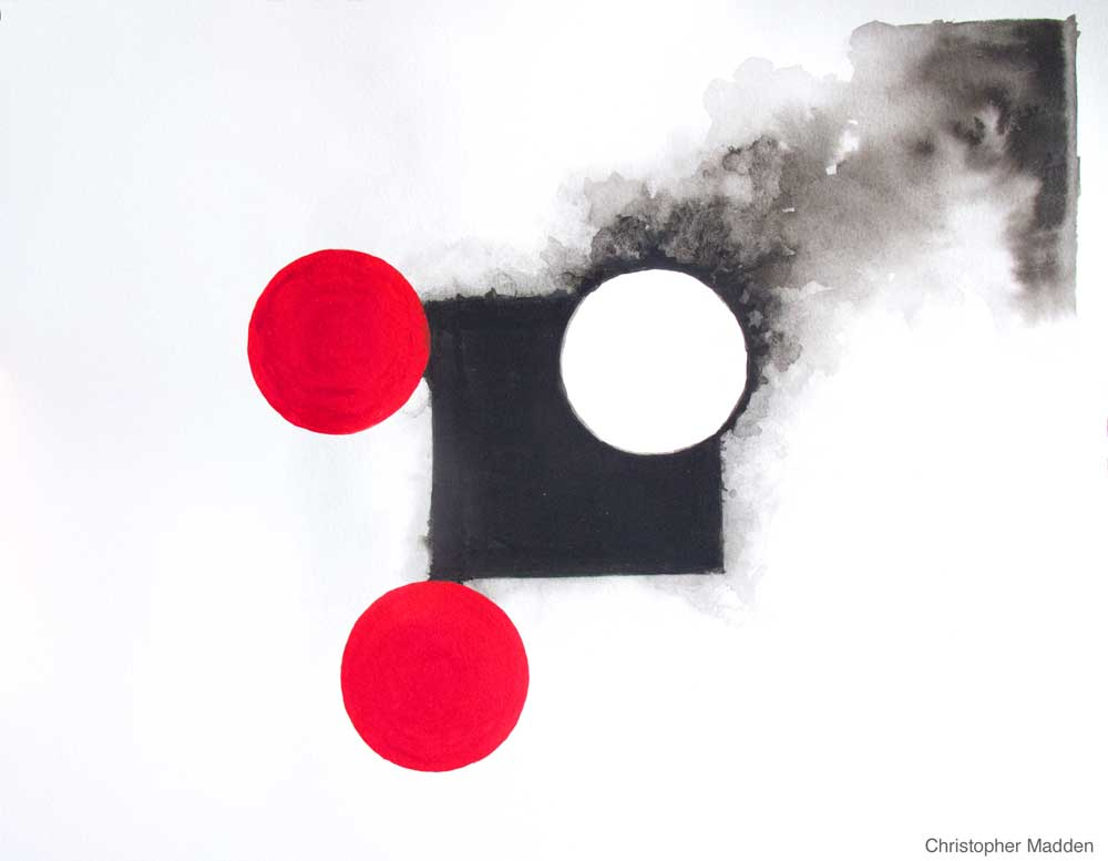 contemporary watercolour and gouache abstract art - black square with red circles