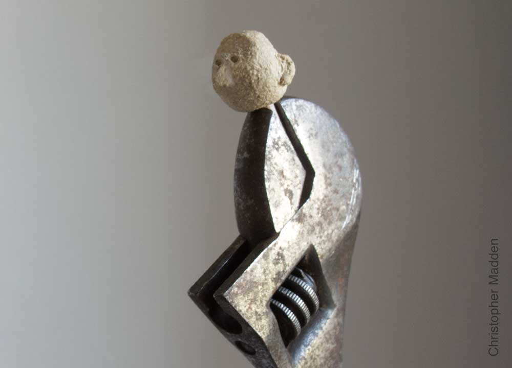 sculpture made from workshop tools - spanner with head