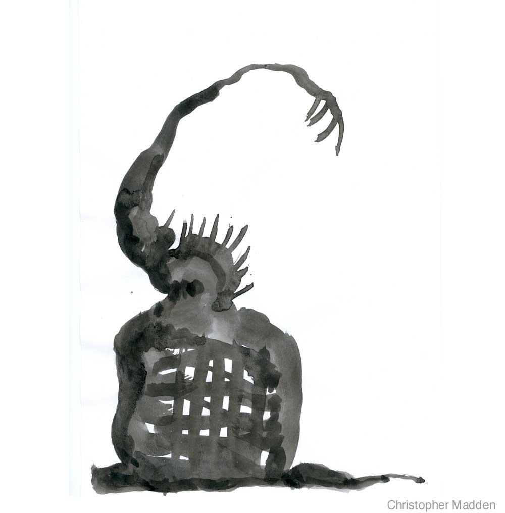 Contemporary art black & white semi-abstract gouache