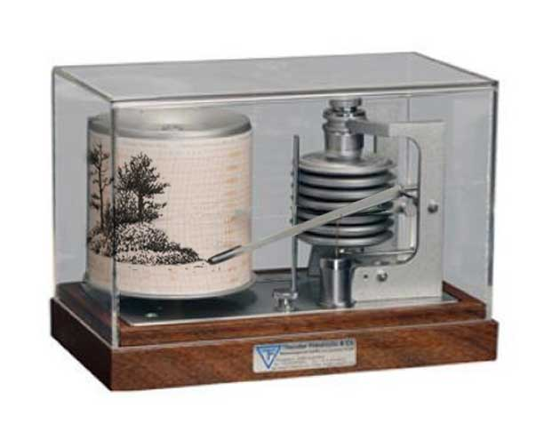 Dada or surrealist sculpture - a barograph creating a drawing