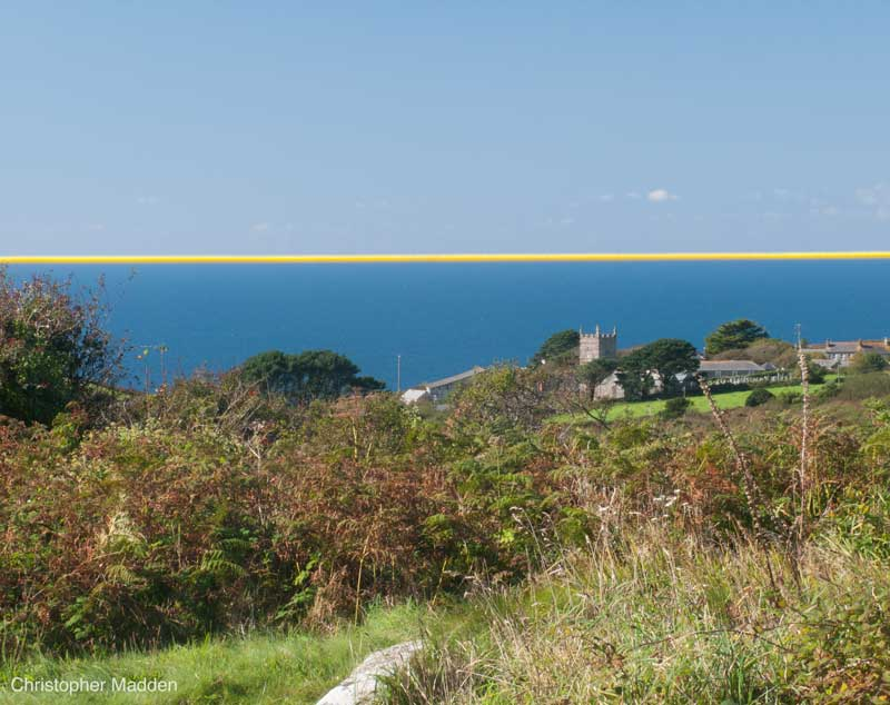 Art in the environment, Cornwall - a cord stretched along. the horizon