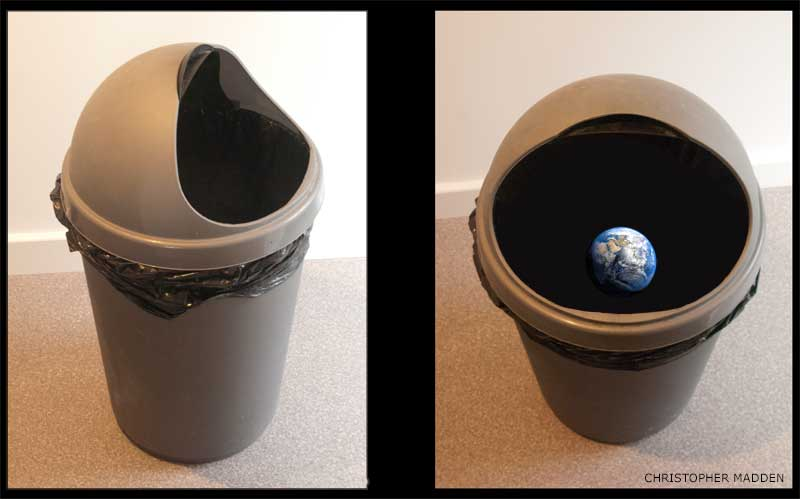 environmental art - earth in a rubbish bin sculpture