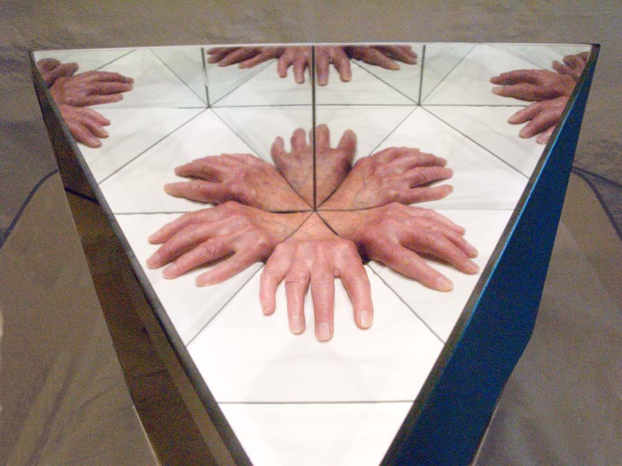 Contemporary art exploring reality and illusion using reflections in mirror